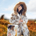 New Genuine Rabbit Fur Jacket With Natural Raccoon Fur Hood Coat Warm Winter Women Fur Garment Real Leather Rabbit Fur Outwear