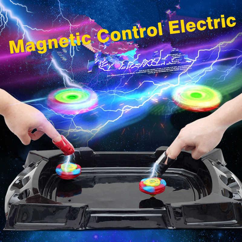 Divertido Control magnético eléctrico con lanzador de estadio de Arena Gyro de batalla Beybladely juego de cuchillas de la hoja superior giratoria Juguetes