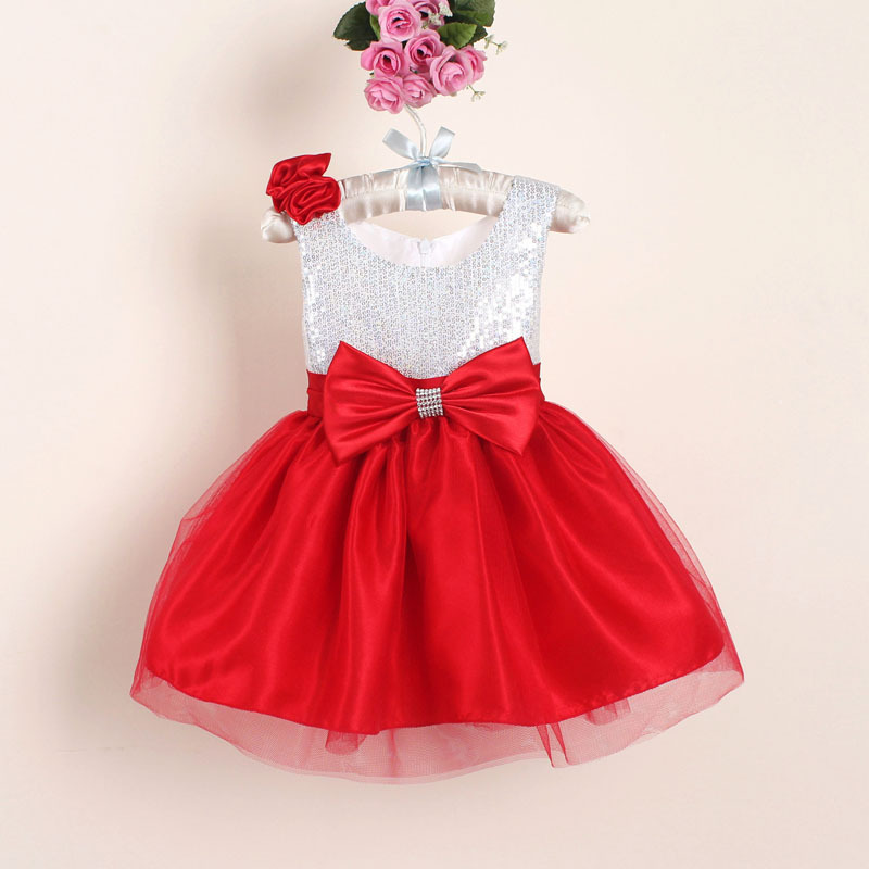 Nya julblomma tjej klänningar Hot Red Sequin Big Bow Baby Party Dress för bröllop vestidos infantis 0-4 år