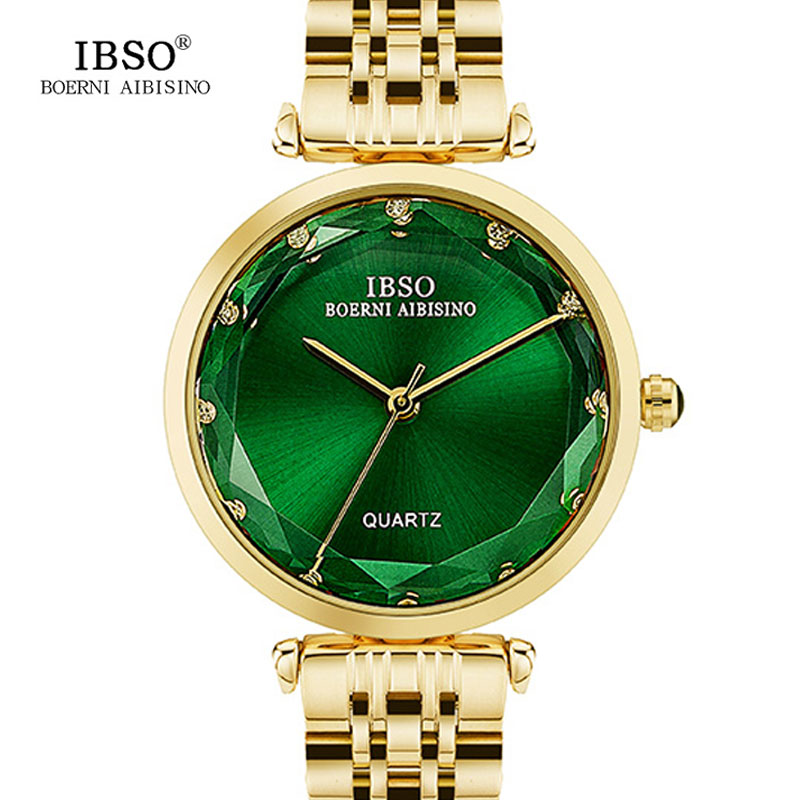 IBSO Stainless Steel Women Watches Luxury Gold Ladies Bracelet Watches Relogio Feminino 2018 Top Brand Women Quartz Watch #8288 gztophid car bifocal fog lens front bumper lights bifocal lens assembly for volkswagen tiguan 10 12 taiwan product