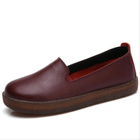 Spring Autumn Fashion Loafers 100% Genuine Leather Single Shoes Soft Casual Flat Shoes Women Flats mother shoes