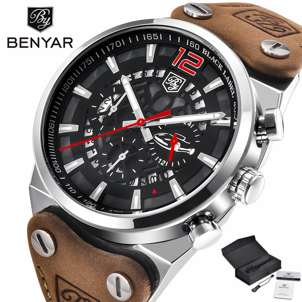 BENYAR Chronograph Men Wrist Watches Stops Military Genuine Leather Strap Top Luxury Brand Date Calender Quartz Clock Gift(Box) xinge top brand luxury leather strap military watches male sport clock business 2017 quartz men fashion wrist watches xg1080