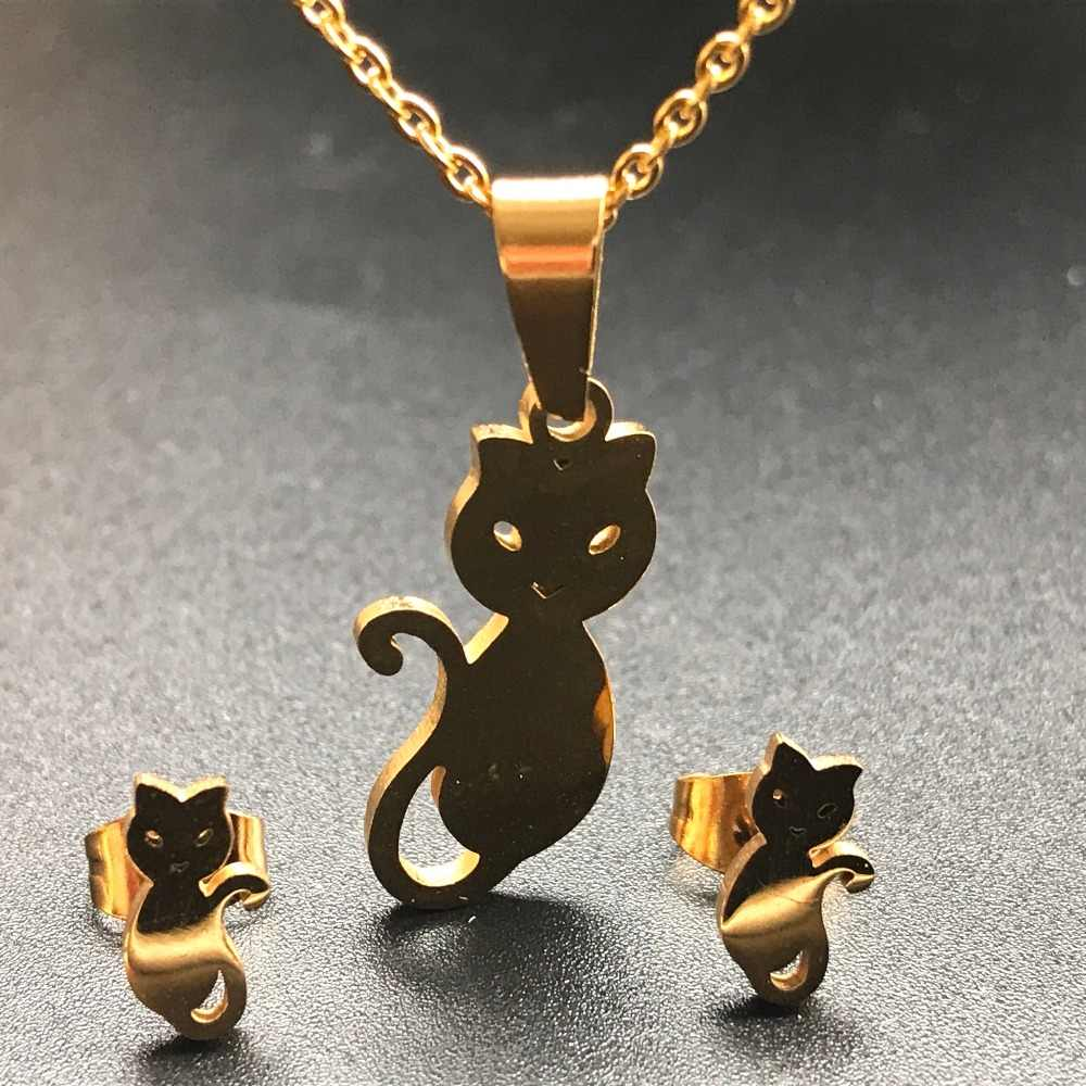 Stainless Steel Necklace For Women Gold Color  bear dog claw Pendant Necklace Engagement Jewelry women necklaces Girl Gifts