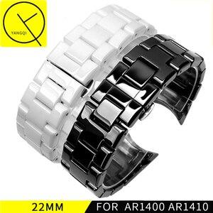 Image 1 - Bracelet de montre en céramique pour homme, bout incurvé, en acier inoxydable, 22mm, AR1400 AR1410, 18mm, Bracelet à boucle papillon, accessoires, nouvelle collection