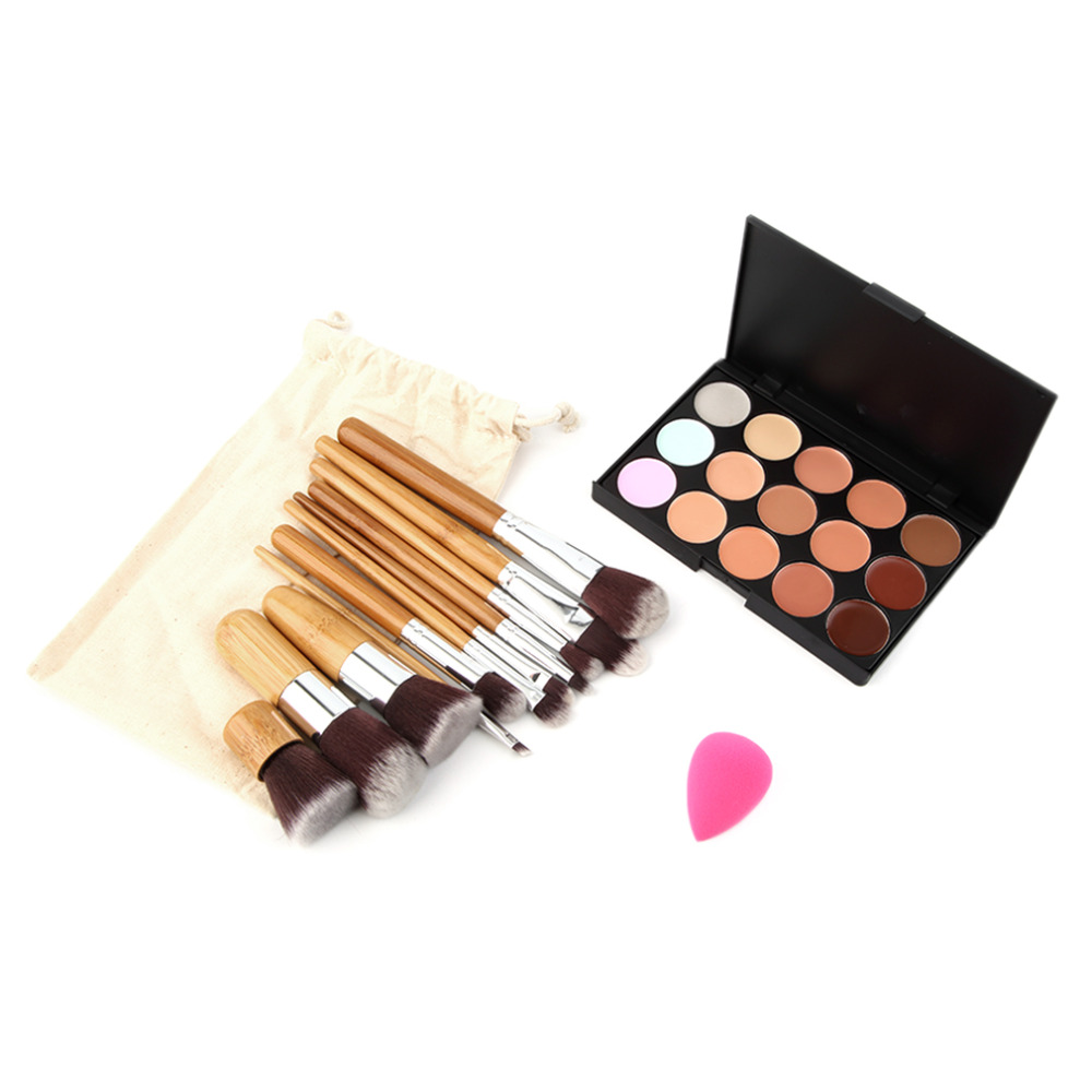 15 Colors Concealer Cream Contour Makeup Palette 11 Bamboo Brushes 1 Puff Set