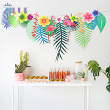 Zilue 3M Tropical Flamingo Leaves Banner Flower Garland Paper Flag Bunting Birthday Baby Shower Wedding Party Decoration