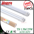 10pcs free shipping CE 1500mm 25w high lumen led tube 5ft led fluorescent lamp