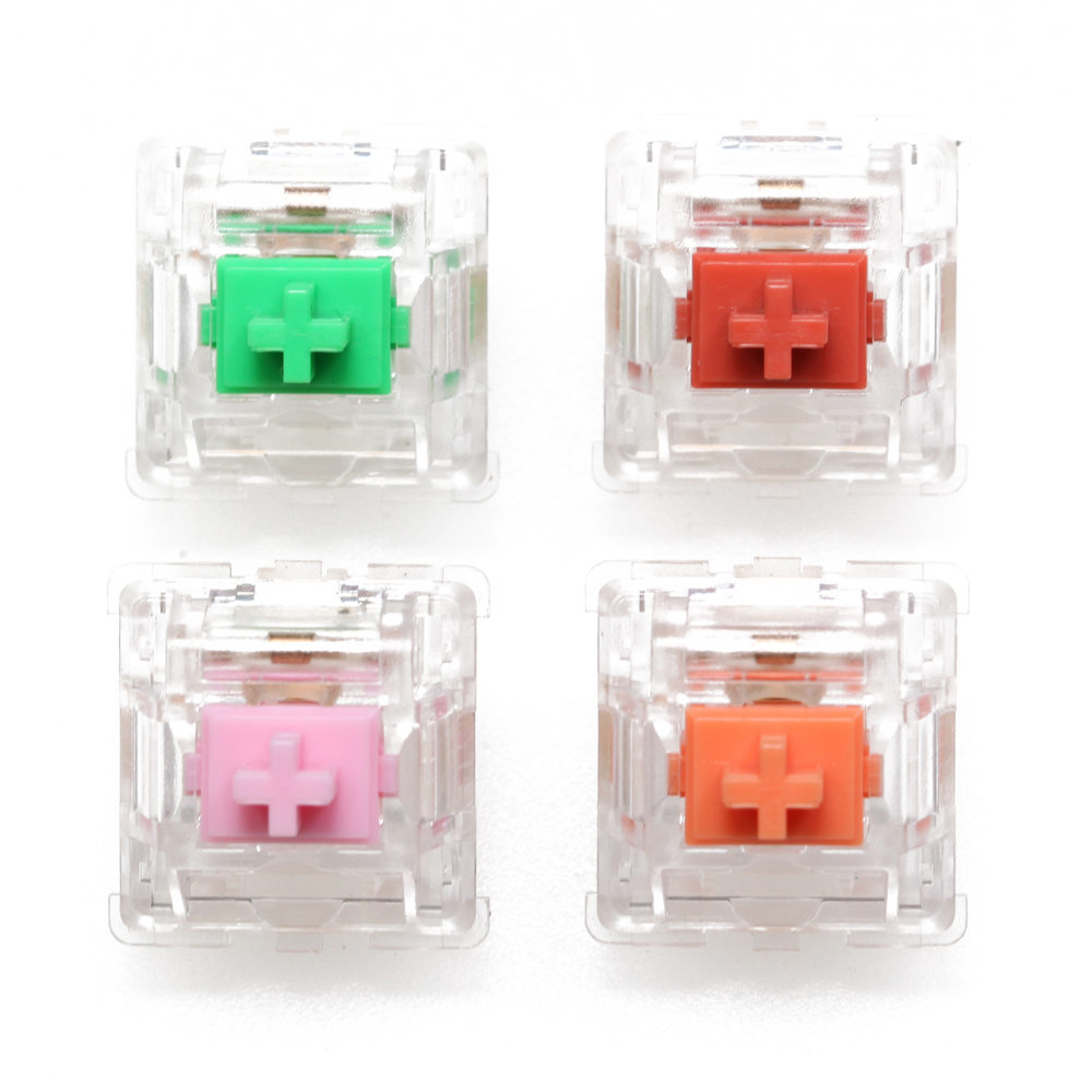 EVERGLIDE SWITCH Sakura Pink Jade Green Coral Red Amber Oran Mx Stem With Transparent Clear Housing For Mechanical Keyboard 5pin