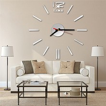 Charminer Silver/Gold New Diy Acrylic Mirror Wall Stickers Clock Large Modern Design 3d Sticker Europe Pattern Home Decora clock