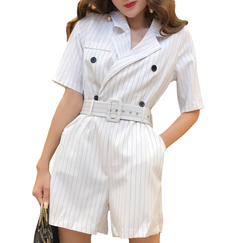 BGTEEVER Casual Summer Striped   Jumpsuits   for Women Rompers Notched Double Breasted Playsuits Short Sleeve Short Overalls 2018