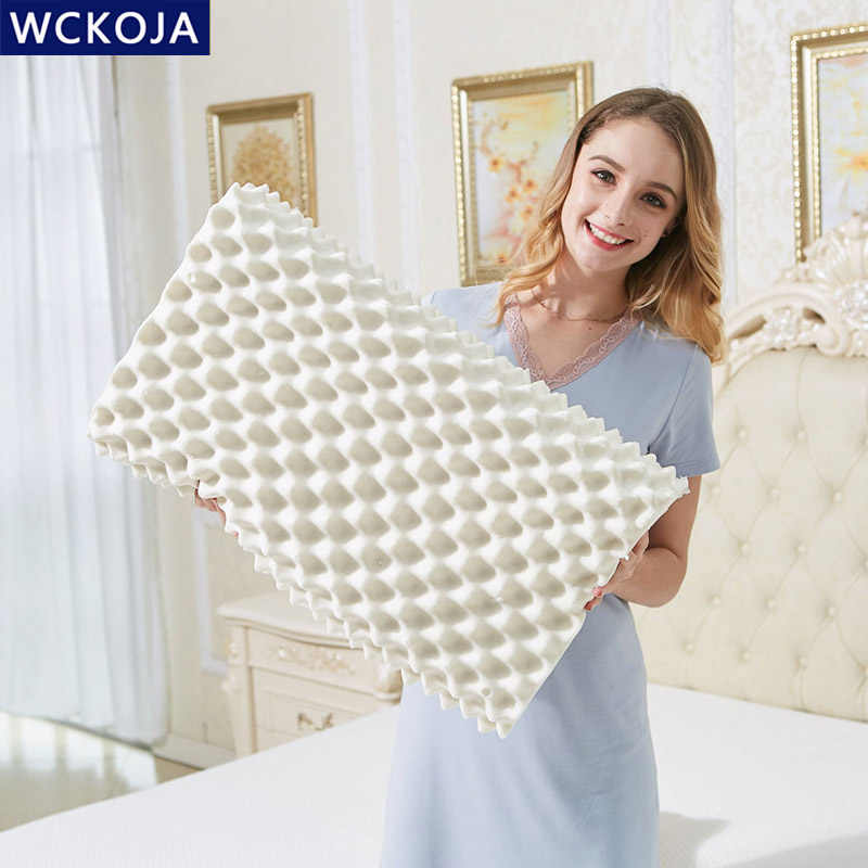 Natural Latex Pillow Massage Orthopedic Cervical Memory Foam Pillow Knitting Pillowcase Neck Protection Bed Sleeping Pillows
