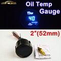 """Car Gauge 2"""" 52mm Oil Temp Gauge Blue LED 40~150 Centigrade Temperature Car Meter Black Shell 12V Digital Display"""