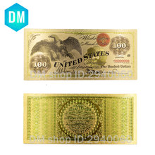 Hot Sale US Gold Banknote 1987 Year Colorful 24k Gold Bill Note Holiday Souvenir Gifts Worth Collection 10 Pcs