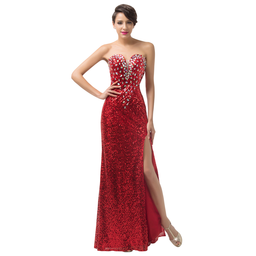 Wedding Red Evening Gown aliexpress com buy new high split evening dresses party gowns crystal sequins formal dress gown red carpet long prom 2017 6102 from relia