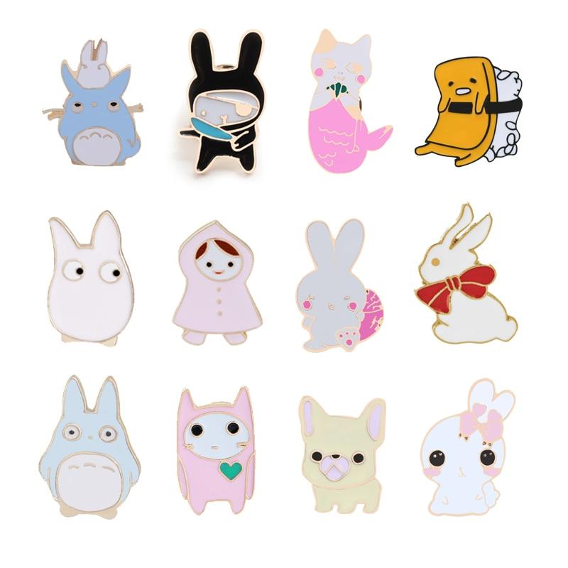 Эмалированные эмалированные брошки в виде персонажей аниме, брошка в виде кота, собаки, нагрудника, кнопки, заколки для мужчин и женщин, ювел...
