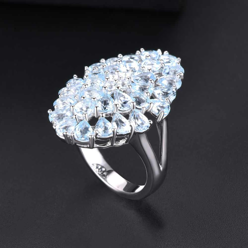 Hutang 5.97ct Blue Topaz ของผู้หญิงแหวน Cluster อัญมณี 925 เงินแหวนเครื่องประดับสำหรับของขวัญ