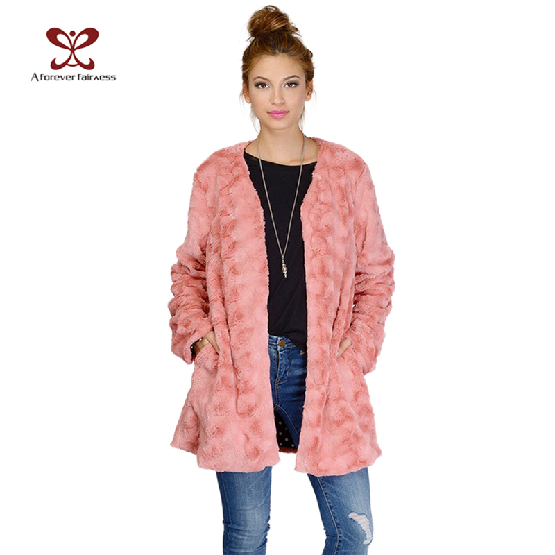 1c4de619d9bd Women Color Pink Cream V Neck Faxu Fur Coat Female Winter Coat Women ...