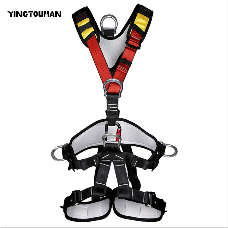 YINGTOUMAN Outdoor Professional Rock Climbing Mountaineering Belt Thicken Harness Rappel Rescue Safety Belt Harnesses