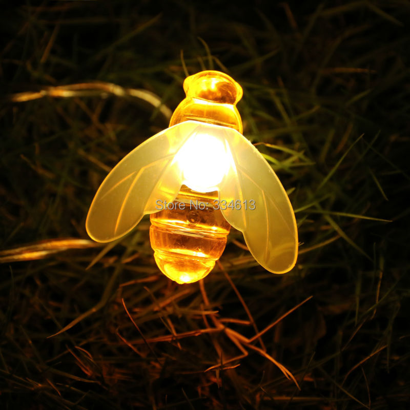 3M 20LED Battery Operated Bee Shaped String Lights Holiday Party Fairy Lights Decorative Warm White PVC Wire Lovely Summer Light