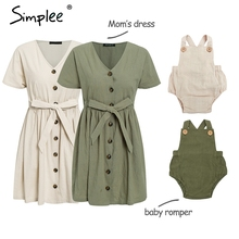Family Outfits Simplee Baby Shirt Dress Summer Casual V-Neck Linen Cotton Romper Vintage