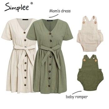 Vintage botón Mujer algodón vestido camisa cuello en V manga corta Lino corto verano vestidos Casual bebé mameluco trajes familiares