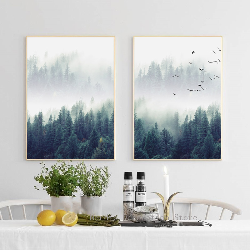 Nordic Forest Poster Wall Art Prints Sky Bird Wall Art ...