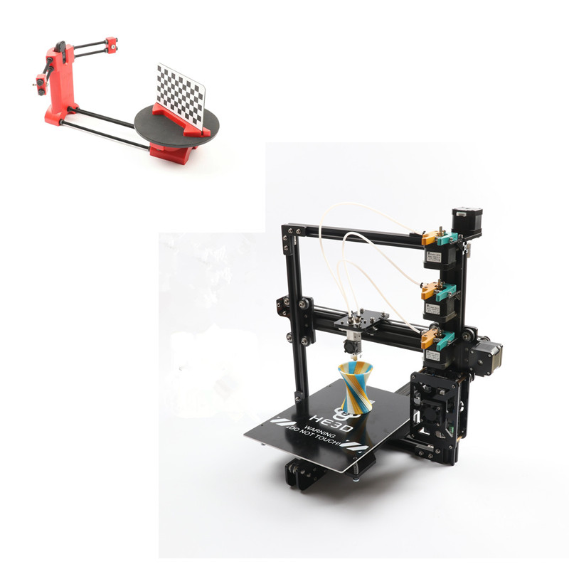 combination sale- EI3 3 in 1 out or 3 in 3 out extruder large print size triple 3D printer kit adding DIY 3D scanner kit