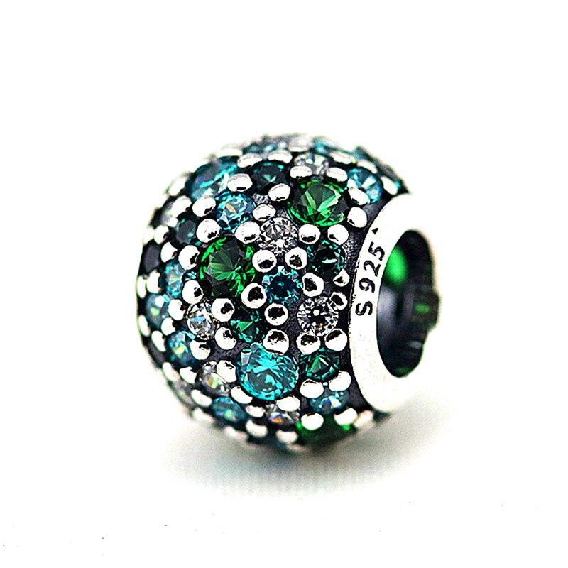 Подходит Pandora браслет Шарм Бусины для изготовления ювелирных изделий проложить серебро очарование с зеленым CZ AD Кристалл 925 Серебряные ювелирные изделия Для женщин Подарки