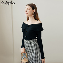 Onlyplus Off Shoulder Sexy Knitted Pullover Female Winter Autumn Women Sweater Elastic Button Fashion Jumper Pull Knit Shirt