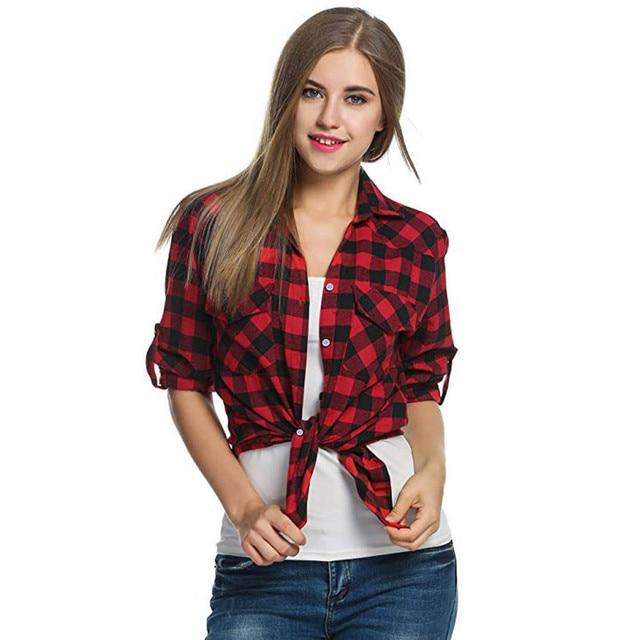 20# Women Blouse Shirt Tartan Plaid Flannel Shirts Roll Up Sleeve Casual Tops Button Down Blouse Blusas Femininas De Ver O 2019 2