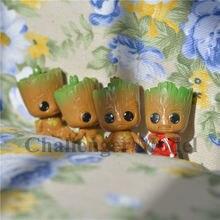 4pcs/set Brinquedos Mini Cute Baby Tree Man Marvel Movie Guardians Of The Galaxy 2 Dancing Model Action Toy Figure Car Ornaments