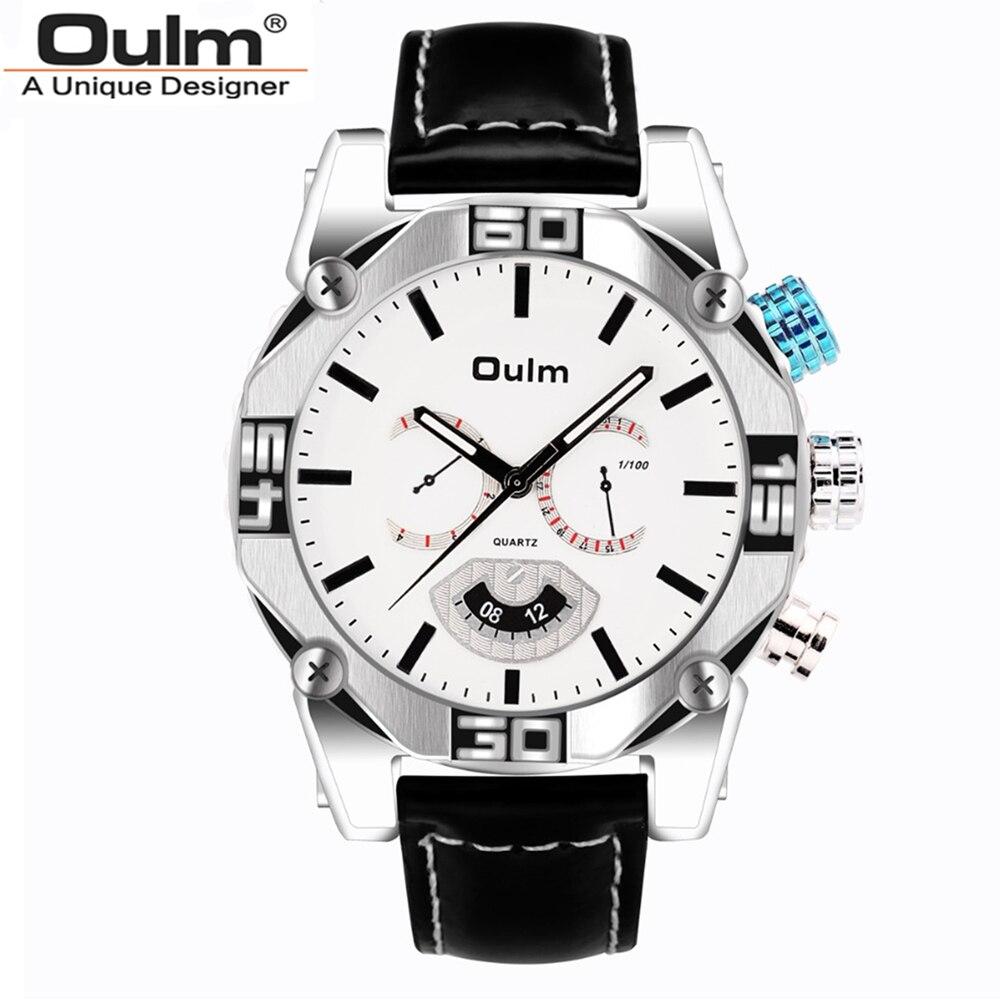 OULM Марка Vogue Мужчины PU Кожаный ремешок Японии движение кварцевые часы  4 часовых поясов военные Водонепроницаемый 9ae2d2f6bf5