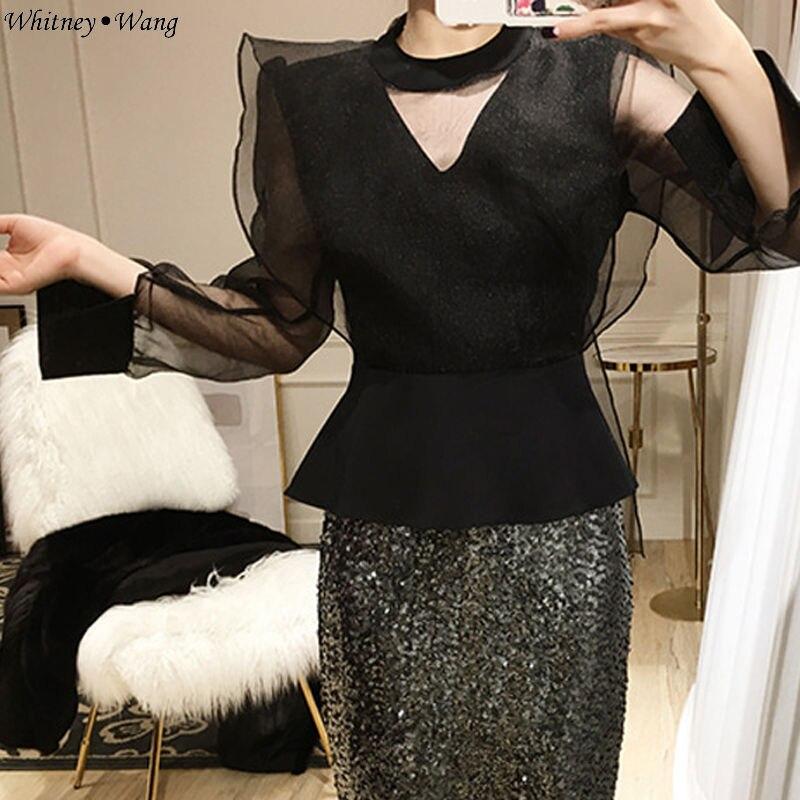 blanc Blusas Blouse Élégante Tops 2018 Creux Noir Whitney Shirt Lady 1692 Automne Out Wang Ww Maille Office Mode Ruches Femmes PpqWwHz