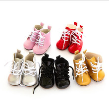 Born New Baby Doll Shoes Fit 18 inch 43cm Shoelaces Accessories BJD White Black Red Pink Lace Boots For Birthday Gift