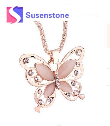susenstone 2018 Fashion Womens Lady Butterfly Pendant Necklace Sweater Chain Hot Women Necklaces Jewelry Christmas Accessory