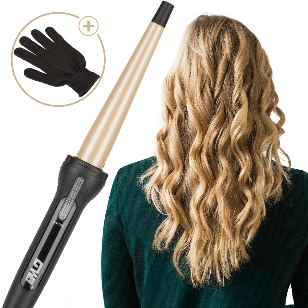 2018 New Golden Ceramic Coated Plate Professional Tapered Curling Iron Electric Hair Curler Magic Curling Wand Hair Styler Waver ckeyin 9 31mm ceramic curling iron hair waver wave machine magic spiral hair curler roller curling wand hair styler styling tool