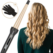 New Cone Golden Ceramic Coated Plate Professional Tapered Curling Iron Electric Hair Curler Magic Curling Wand Hair Styler Waver