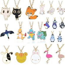DIY Cartoon Emalje Dragon Bird Fox Kanin Anheng Chinchilla Cat Necklace For Women Kawaii Animal Family Choker Smykker Collares
