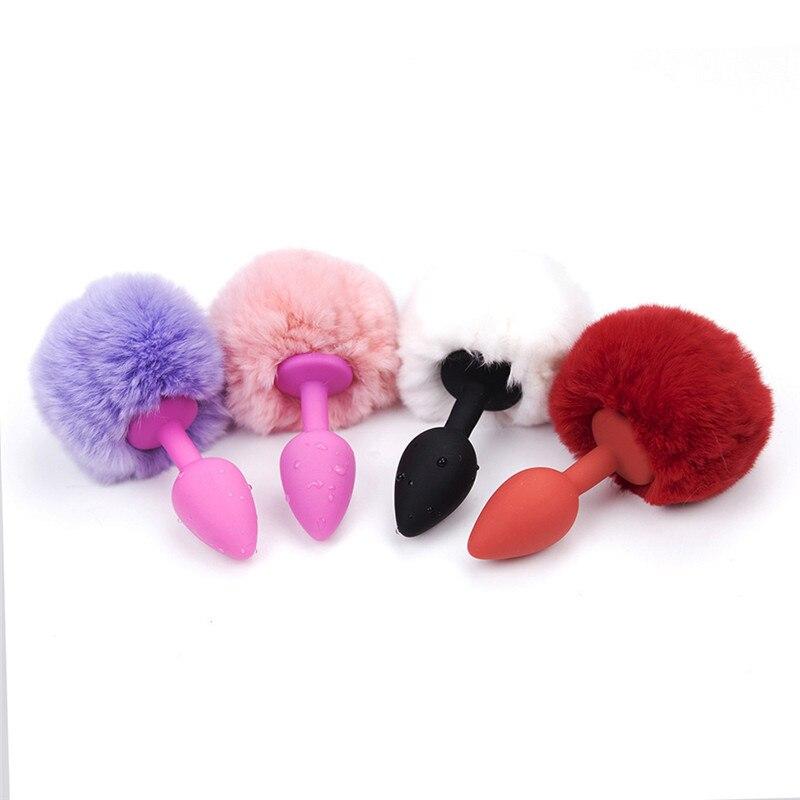 Анальная пробка дворе пушистый комочек Butt Вставить эротический секс-игрушки силикона кролика хвост на День Святого Валентина подарок