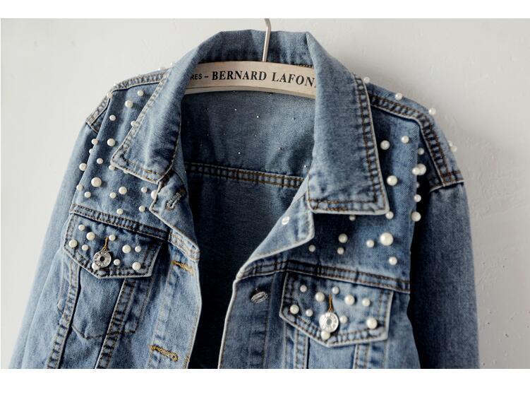 Toppies 2020 Spring Autumn Women Pearl Beading Slim Denim Jackets Korean Fashion Streetwear Pearl Jeans Coat