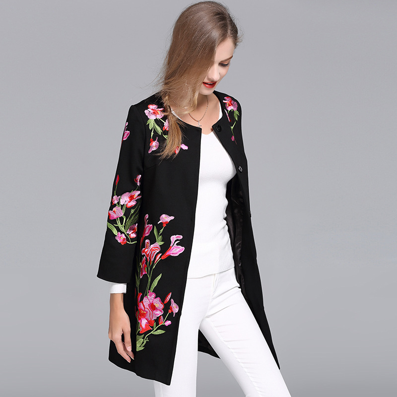 Vintage Royal Embroidery Autumn Basic Jacket Coat Woman Tops Elegant Slim Lady Plus Size Black Floral Casual Coat Female S-6XL