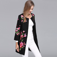 Vintage Royal Embroidery Autumn Basic Jacket Coat Woman Tops Elegant Slim Lady Plus Size Black Floral