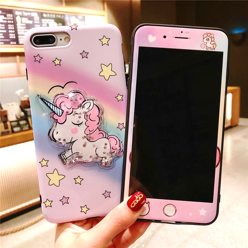 For iPhone 7Plus unicorn case Tempered Glass Screen protector film & bling unicorn Cover for iPhone 8 8plus 7 6 6S 6SPlus 6P