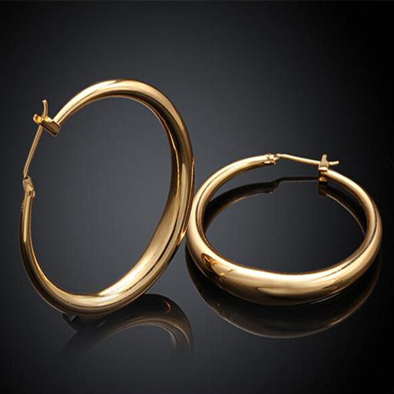 Hoop Earrings Rose Yellow Gold For Women Loop Circle Earring Fashion Jewelry In From Accessories On