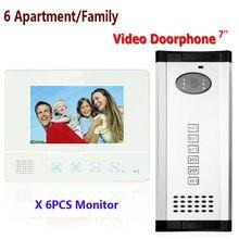 Freeship DHL 7 «Видеодомофон Дверной Звонок, Дверь в Квартиру Телефон + 6 Мониторы ИК Камера для Интерком Дверной Звонок телефона
