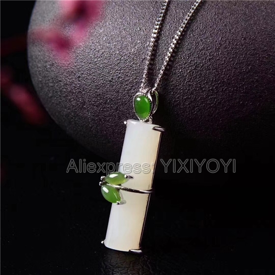 925 Sterling Silver White Green HeTian Jade Inlay Cute Bamboo Design Lucky Pendant + Chain Necklace Charm Fine Jewelry Gift