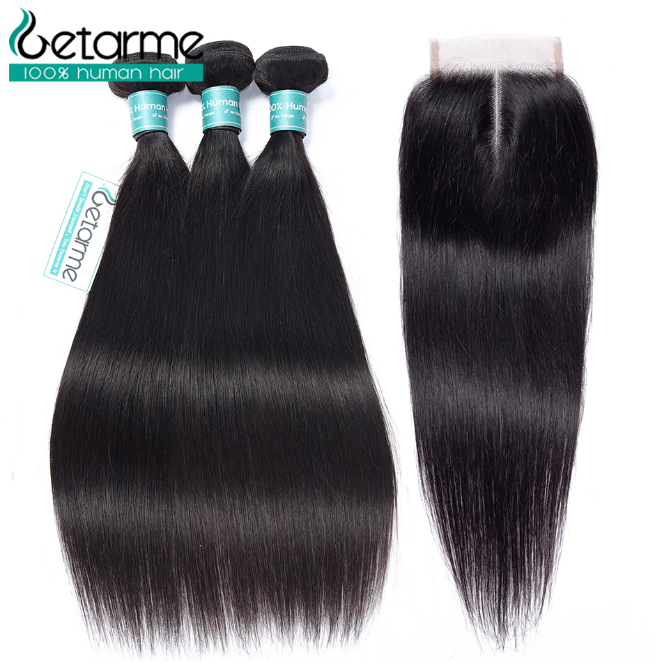 Straight Human Hair Bundles With Closure 4 Bundles With Lace Closure Non Remy Extensions Peruvian Straight