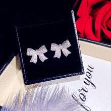 עגילים לנשים מוצק 925 כסף מחטי Bowknot מעוקב Zirconia תכשיטים יפה מתוק חמוד Brincos למעלה איכות