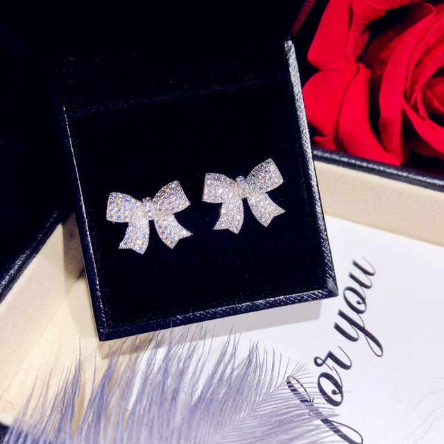 Stud Earrings For Women Solid 925 Silver Needles Bowknot Cubic Zirconia Fine Jewelry Lovely Sweet Cute Brincos Top Quality