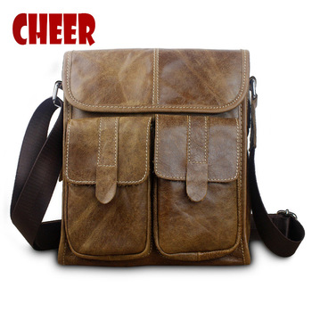 Genuine Leather shoulder bags Vintage Business briefcase Messenger Bag mad horse skin The first layer of leather Crossbody bag